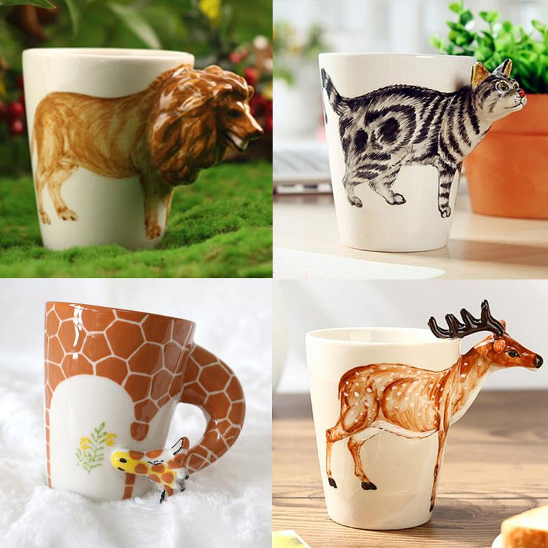 2015 Christmas gift Ceramic coffee milk tea mug 3D 12 animal shape Hand painted Deer Giraffe