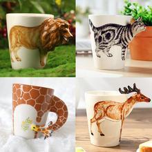 2015 weihnachtsgeschenk Keramische kaffee milch tee becher 3D 12 tier form handgemalte Deer Giraffe Deer Löwe Affe Hund Elephant tasse