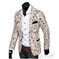 2016 Mens Elegante Casual Slim Fit três Botões Suit Blazer Brasão Jacket Outwear