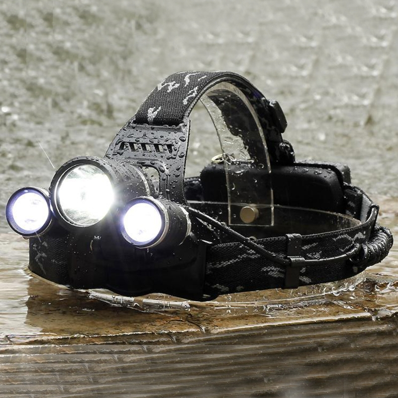 YAM 8000LM Zoomable 3 LED Rechargeable 18650 Headlamp Head Light Torch EU Plug ...