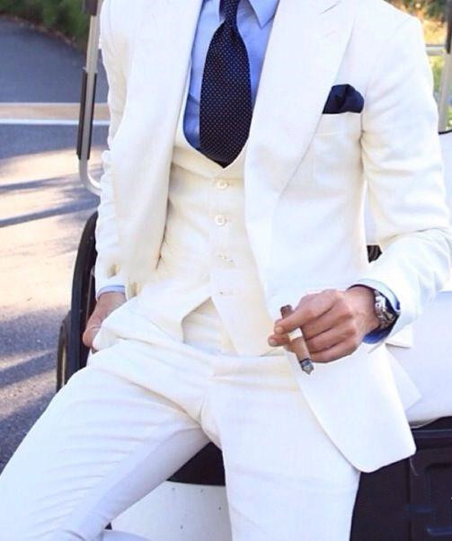 Ivory Wedding Tuxedos Slim Fit Suits For Men Groomsmen Suit Three Pieces Formal Suits (Jacket +Pants+Vest+Bow Tie) Costume Homme