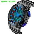 Marca de lujo reloj de Cuarzo Sanda Relojes Reloj de Los Hombres LED Analógico Digital Deportes Choque Reloj Resistente Al Agua Reloj Hombre Militar Reloj