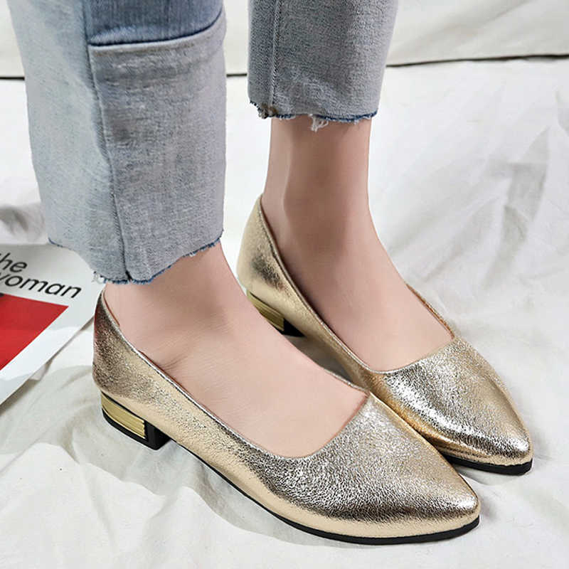Tangnest 2019 New Spring Gold Low Square Heels Women Shallow Pumps Slip On  Pointed Toe Solid a3938c3787f9