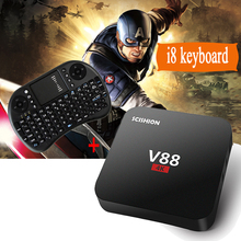 V88 RK 3229 de Cuatro Núcleos CAJA Androide de la TV Y el i8 Air Mouse Keyboard Android 6.0 Mini PC 1 GB/8 GB Wifi 1080 P HDMI 4 K Decodificador Inteligente