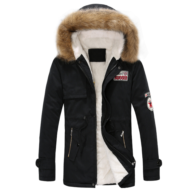 Chegadas de moda de nova homens jaqueta de inverno gola de pele com capuz casaco militar 2XL 3XL 4XL JPCL06