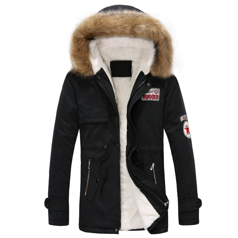 ФОТО new arrivals fashion men winter jacket hooded fur collar military  overcoat 2XL 3XL 4XL JPCL06