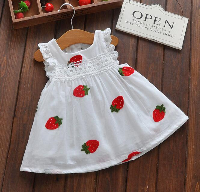 Girls Cartoon Strawberry Dress Baby Summer Sleeveless Lace Dress Kids Cute White Color Cotton Dresses