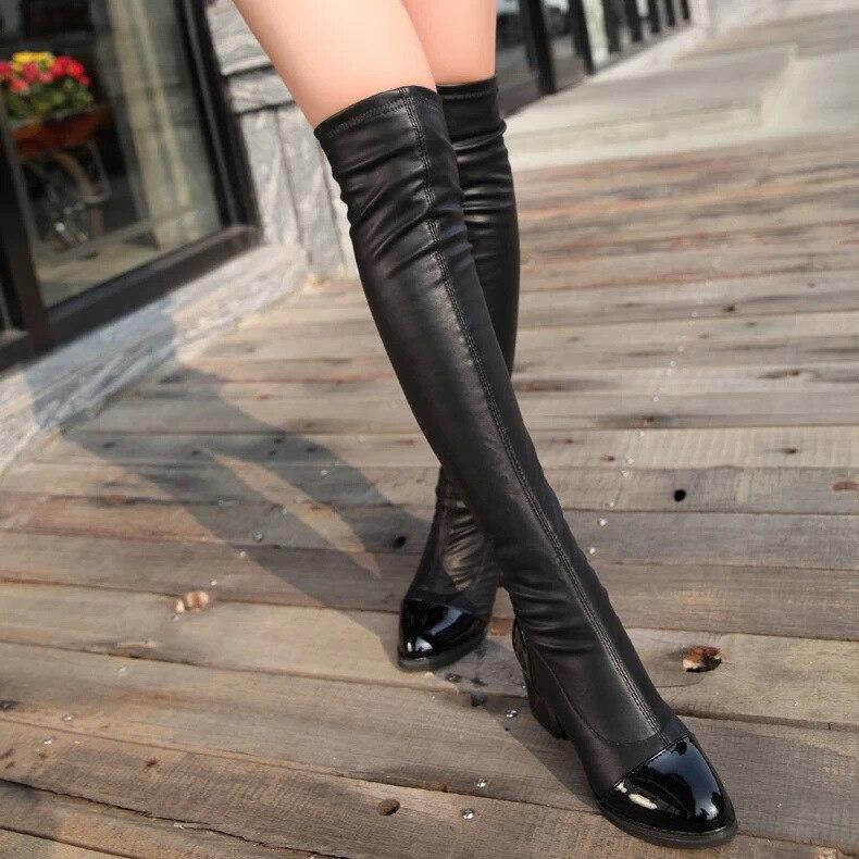 Ferse Platz Winter die Med Schwarzes Stiefel Über Herbst knie Elastische Spitz auf Umgeschlagenen Oberschenkel Rand Für Lange Schuhe Frauen Slip TxWZaqwnqF