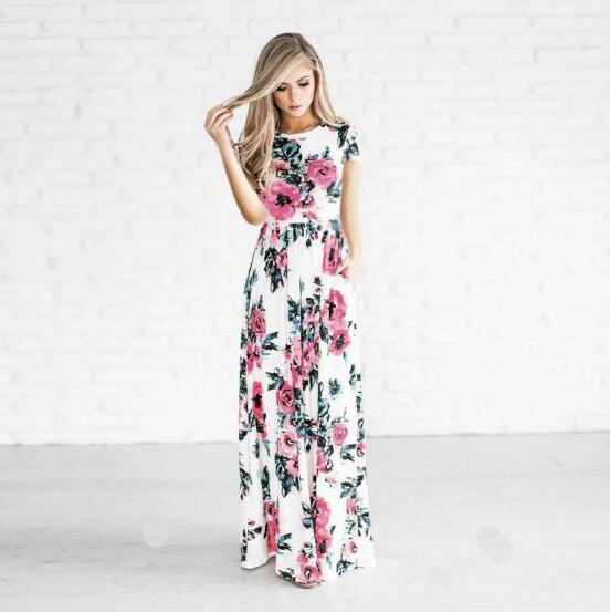 details for various styles large assortment US $8.75 46% OFF 2019 Summer Long Dress Floral Print Boho Beach Dress Tunic  Maxi Dress Women Evening Party Dress Sundress Vestidos de festa XXXL-in ...