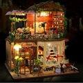 """DIY Casa De Bonecas de Madeira com Móveis, Engraçado """"Tempo de Rui Ya"""" Casa De Bonecas Em Miniatura Brinquedos para o Aniversário do Miúdo presente"""
