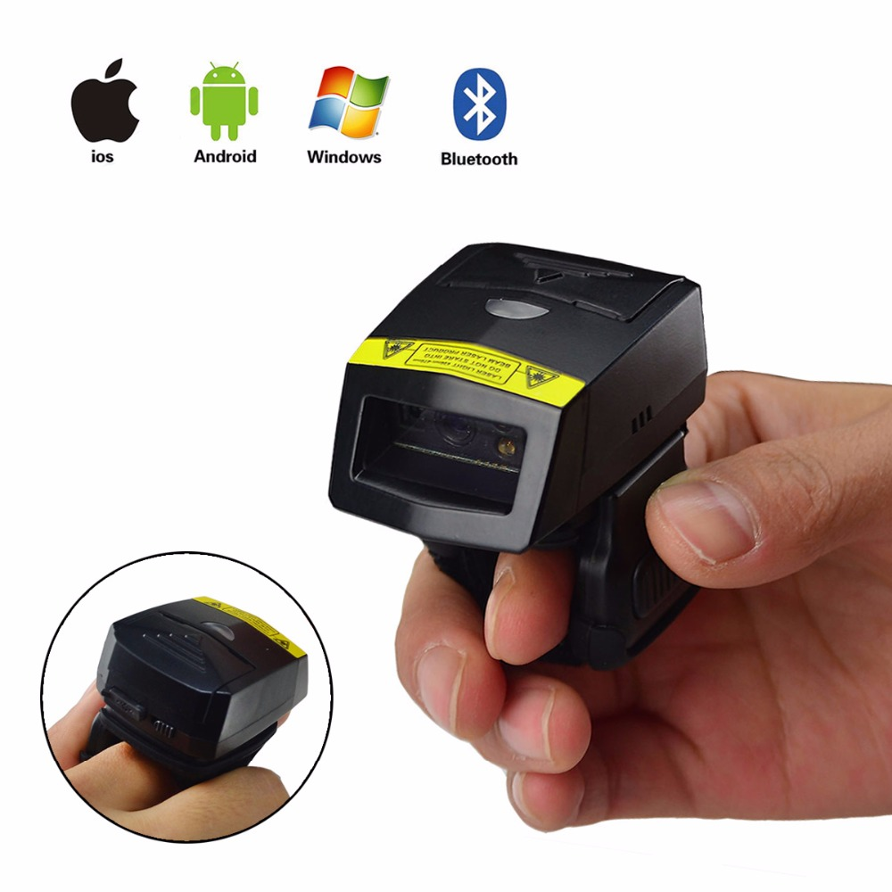 NEW Bluetooth Barcode Scanner FS02 Wearable Ring 2D Laser USB Li ion Battery For Windows Mac