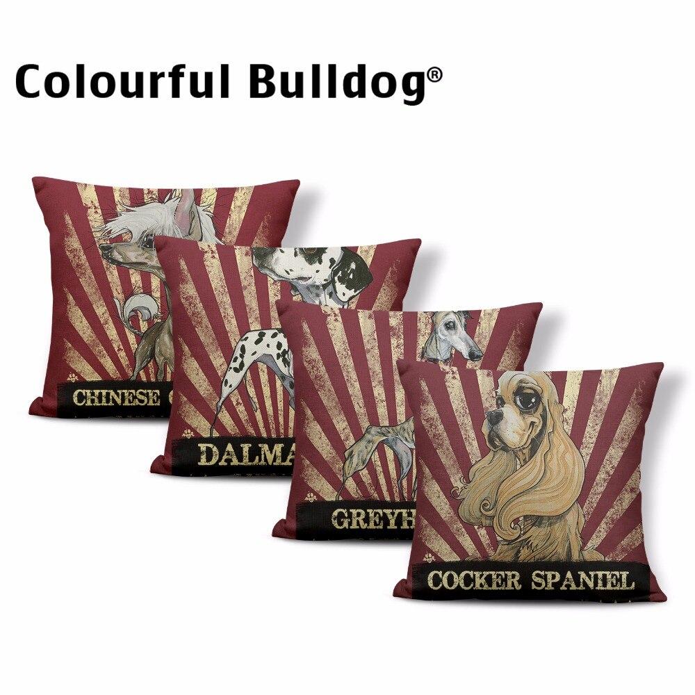 Cute English Bulldog Corgi Throw Pillow Cases Dalmatian Doberman Cushion Cover 43*43 cm Decor Home Office Couch Greyhound Poodle