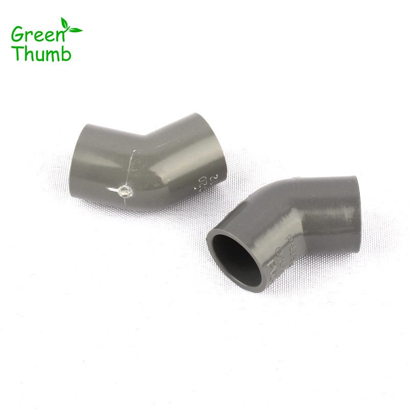 30pcs Green Thumb Inner Diameter 20mm PVC 45 Degree Elbow Hose Connector for Garden Micro Drip Irrigation PVC Connectors