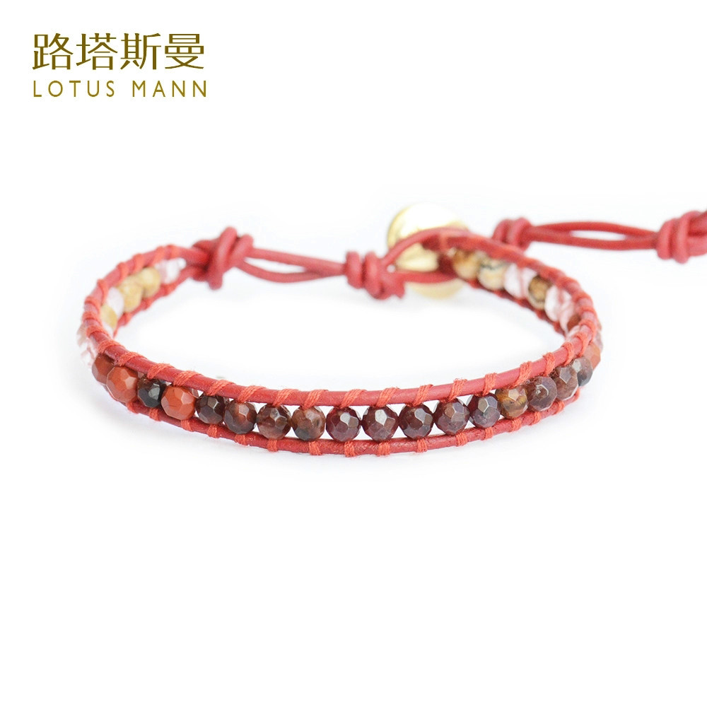 LotusMann Garnet red tiger's eye and multicolor red lap retro red leather cord bracelet image