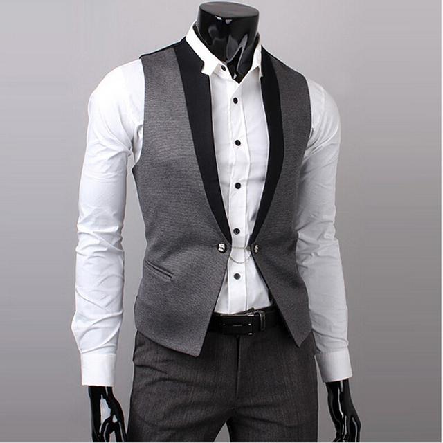 2017Hot Men Suit Vest Slim Vestido Coletes Embutida Lazer Colete Casual Jacket Negócios Tops Três Botões