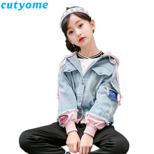 3-14 Years Big Girls Denim Jackets 2019 Spring Autumn Fashion Children Outwear Jeans Coat Kids Patchwork Hooded 12