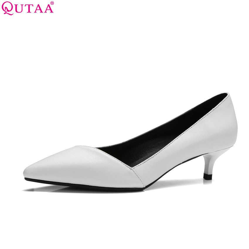 QUTAA 2018 Women Pumps Genuine Leather +pu Fashion Shoes Slip on Shallow Thin Heel Pointed Toe Platform Slip on Pumps Szie 34-41 цена