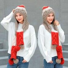 2018 New Winter hat Girl Cute Warm Set Crochet Cap Knit Hat Scarf Pompon Beanies Shawl Solid Weave Plus velvet Headwear