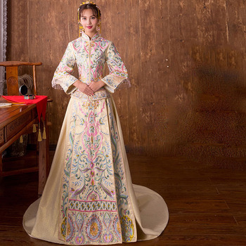 High Quality 2018 Traditional Chinese Wedding Dress Embroidery Cheongsam Qipao Dresses Retro Dressing Gown Bride Traditions Платье