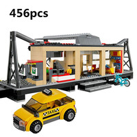 Lepin Technic 02015 City Train Station With Rail Track Taxi 456Pcs Building Block Set Boys Model