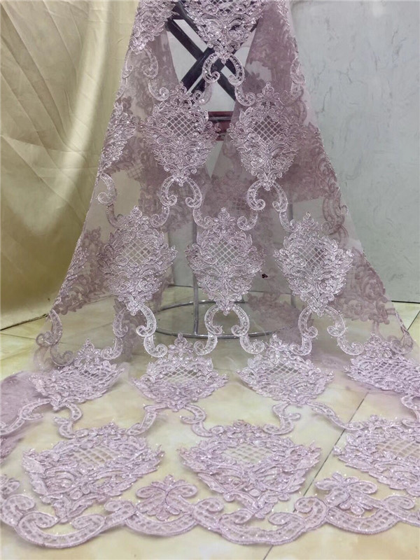 New arrive Hot sale Sky blue gold pink color cut lace fabric african sequins french tulle