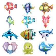 5pcs 16inch Mini Ocean Animal Head Foil Balloon Kids Birthday Party Decor Cartoon Fish Inflatable Toys Baby Shower