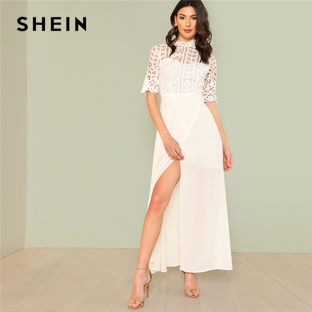 db0ac17a61 SHEIN White Elegant Plain Stand Collar Short Sleeve Contrast Lace Wrap  Zipper Split Maxi Dress Summer