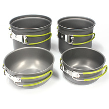 4Pcs Outdoor Camping Hiking Picnic Backpacking Cookware Cook Cooking Pot Bowl Set