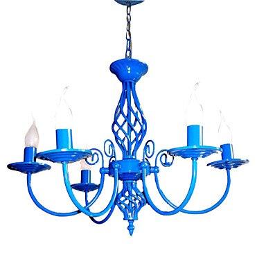 E14x5 Sky Blue Color Modern LED Chandelier For Bedroom Living Room Hanging Light Fixtures цена 2017