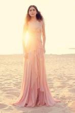 Charming Rosa Scoop A-Line Kleid Bodenlangen Sleeveless Tank Abendkleid Appliqued Chiffon-Vestido De Festa KL30