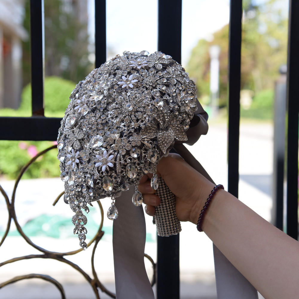 JaneVini Lyxiga Anpassade Smycken Silvervattenformade - Bröllopstillbehör - Foto 5