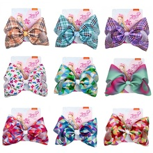 8 Party Bows Hair Clip For Girls Handmade Ribbon Knot Headband Jumbo Plaid Large Bow Accessories Children