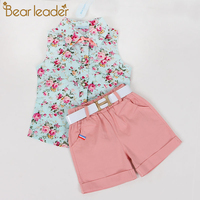 Bear Leader Kids Clothes 2015 Fashion Sleeveless Summer Style Baby Girls Shirt Shorts Belt 3pcs Suit