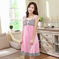 New Summer Casual Sleepwear Women Leopard Silk Night Dress Nightgowns Fashion Home Sexy Dresses PINK BLUE RED Long Night gown