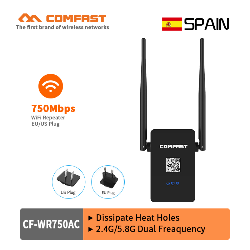 COMFAST 110V~240V Wifi Repeater 750Mbps 802.11ac Dual Band wifi Router extender Roteador antenna wi fi signal Amplifier booster