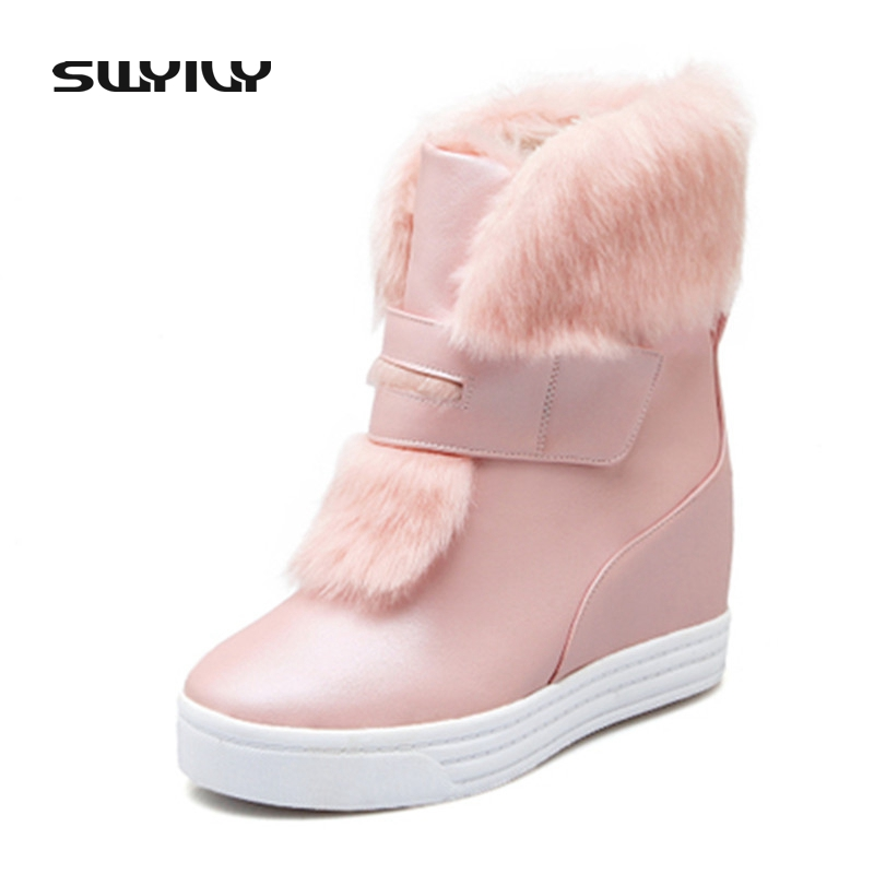 Non-Slip Thick Bottom Cotton Snow Boots Fur Height Increased Sweet All-Match 2017 New Winter Shoe Women Size 40 Pink White Beige women winter coat leisure big yards hooded fur collar jacket thick warm cotton parkas new style female students overcoat ok238