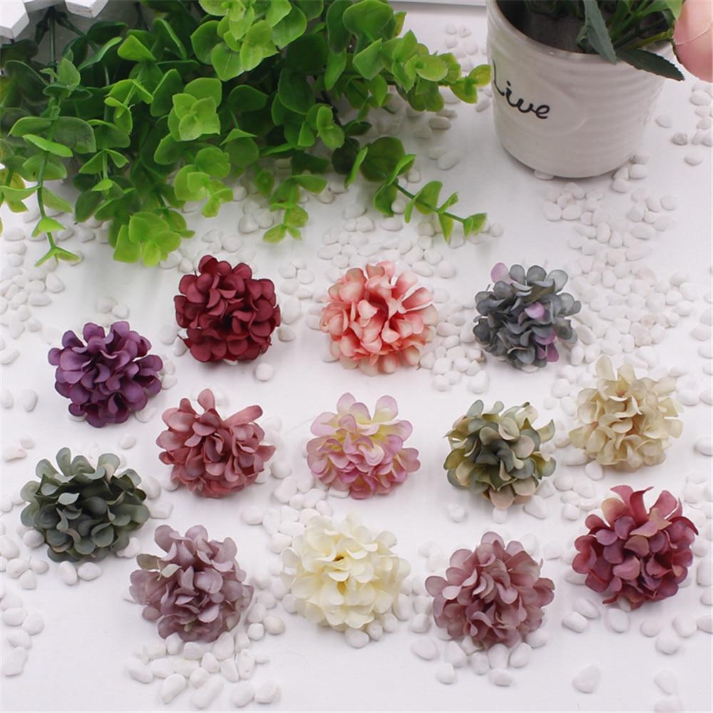 Cheap 10pcs Silk Gradient Artificial Flower Bouquet For Wedding Decoration DIY Scrapbooking Decorative Wreath Fake Flowers