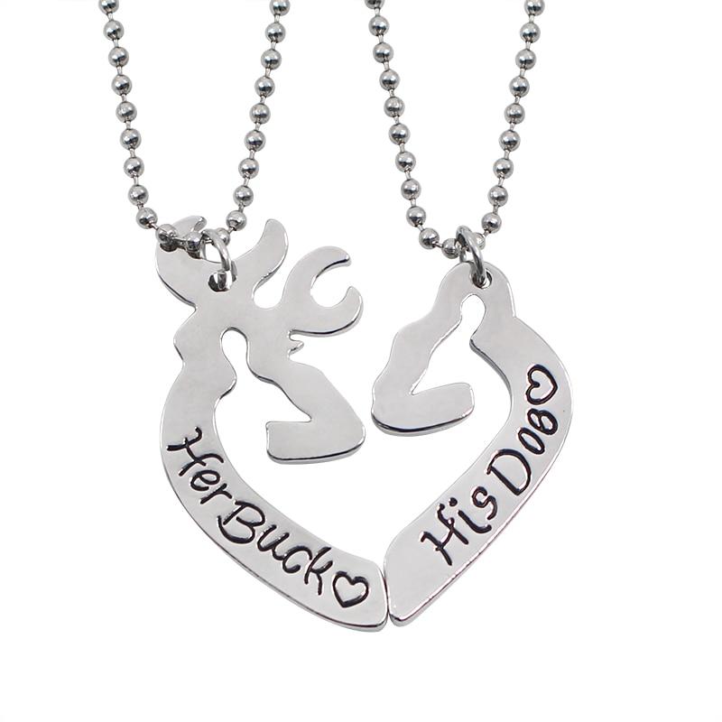 2Pcs Κυνήγι Ζώων Buck και Doe Κολιέ Αγάπη Καρδιά Buck Του Doe Κολιέ Ζευγάρι Καλύτερο δώρο για την Ημέρα του Αγίου Βαλεντίνου Collares