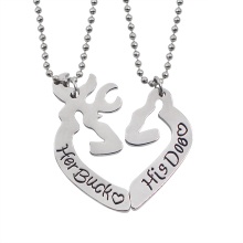 2Pcs Animal Hunting Buck And Doe Necklace Love Heart Her Buck His Doe Couple Necklaces Best Gift For Valentine's Day Collares