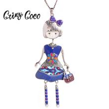 Cring Coco 2019 Multicolor Doll Women Necklace Pendant Fashion Charm Silver Color Chain Pendants Trendy Choker Jewelry