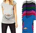 Европейский Американский Плюс Размер Забавный Материнства Рубашки Детские Печатных Футболку Повседневная Одежда Летняя Одежда Хлопок Беременных Женщин Топы