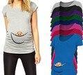 Americana europea Más El Tamaño de Maternidad Divertida Camisetas Bebé Camiseta Impresa Ocasional de la Ropa de Verano Ropa de Algodón Mujeres Embarazadas Tops