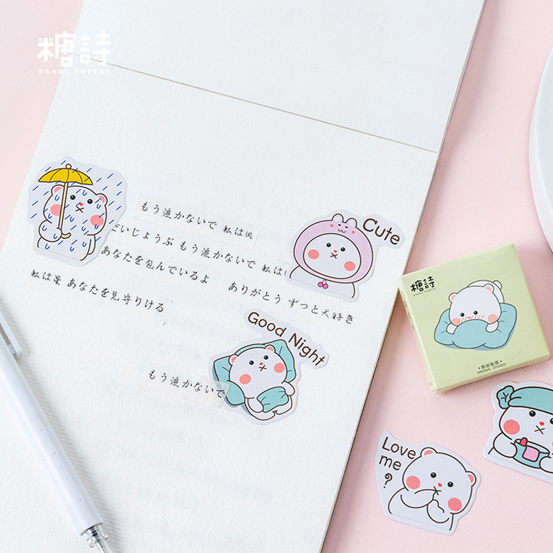 Office & School Supplies Temperate 45pcs /pack Super Cute Bear Diy Card Adhesive Stickers Decorative Scrapbooking Sticker Label Cake Home Decor Kids Toy Relieving Rheumatism And Cold