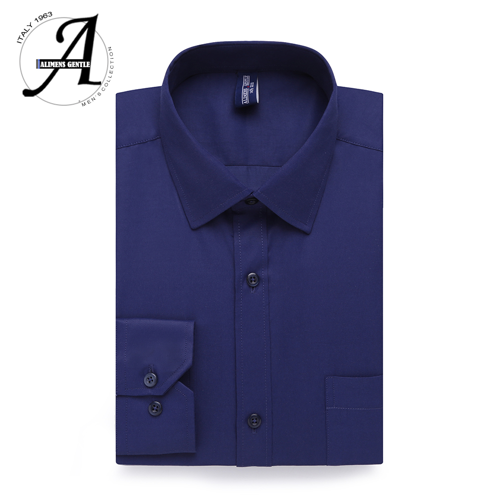 Basic Office Working Dress Shirt Men Long Sleeve Solid Color White Black Pink Blue Red Male Shirts Camisa Masculina Social Homme