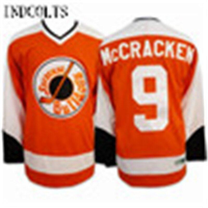 Для Мужчинs Маккрэкен 9 Джерси Сиракузы бульдоги воротам двигаться Майки Все прошитой Оранжевый Хоккей Джерси indcolts