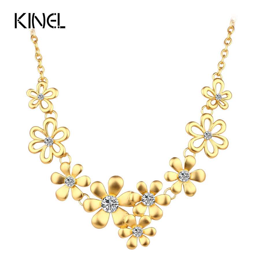 Elegant Crystal Petal Pendant Necklace For Women Matte Gold Color Indian Jewelry Fashion 2017 High Quality Party Accessories