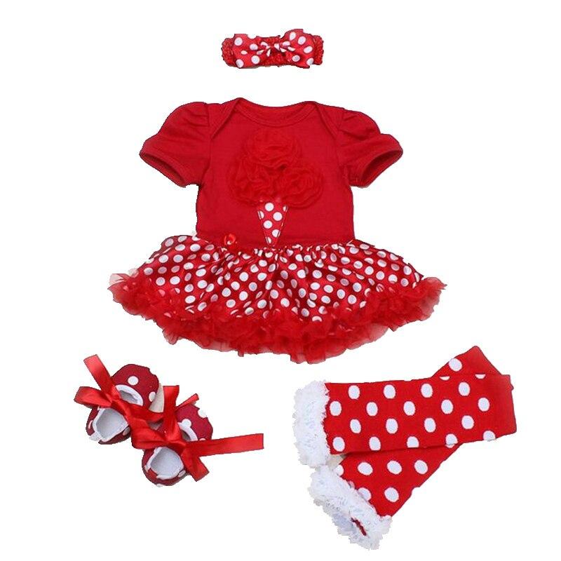 Мороженое Горошек Красный Лето Baby Girl Одежда 4 ШТ. Новорожденных туту Устанавливает Детские Партия Костюм Кружева Petti Комбинезон Детей Наряды 2016