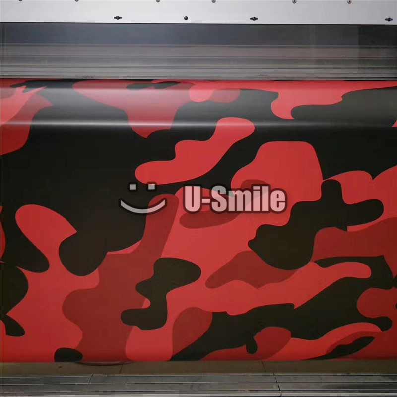 Jumbo Elite Red Camo Vinyl Wrap Film Bubble Free For SUV TRUCK Jeep Wraps