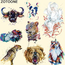 ZOTOONE Sticker Patches Watercolor Animal Washable Print on T-Shirt Clothes Decoration New Design Diy Accessory Iron-On Transfer