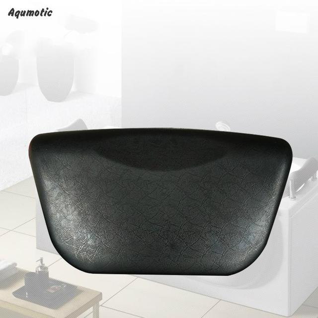 Aqumotic Bath Pillow With Suction Cups Comfortable 280mm Manufacturers Casual Black Universal Spa Bath Pillows For Tub Headrest